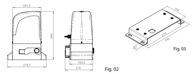 Motorline Slide800A motor méretei